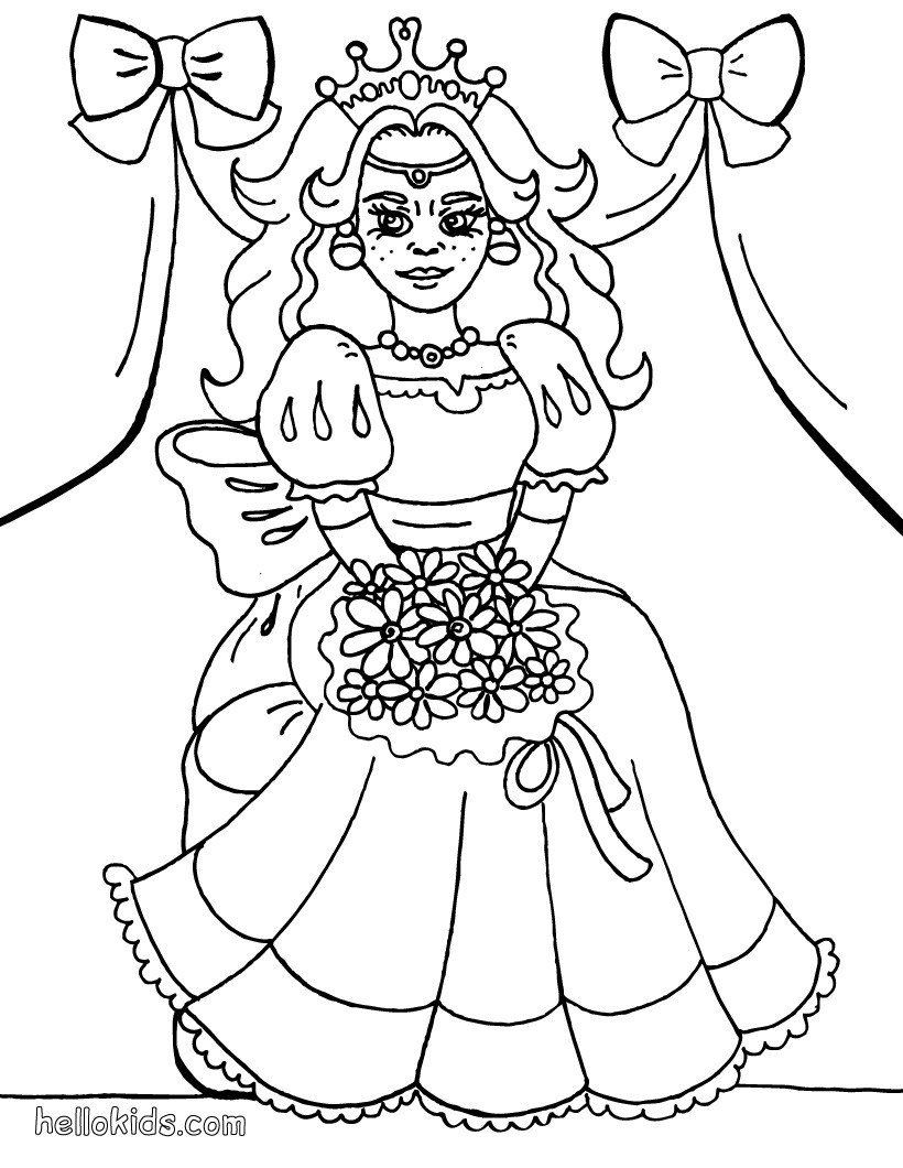 Princess with flower coloring page