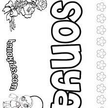 Sonya - Coloring page - NAME coloring pages - GIRLS NAME coloring pages - S girls names coloring posters