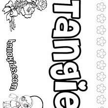 Tangie - Coloring page - NAME coloring pages - GIRLS NAME coloring pages - T names for girls coloring and printing posters