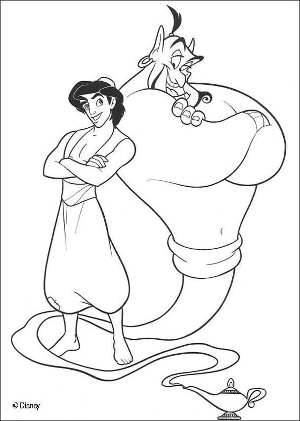 genie lamp coloring page - aladdin coloring pages aladdin and the genie