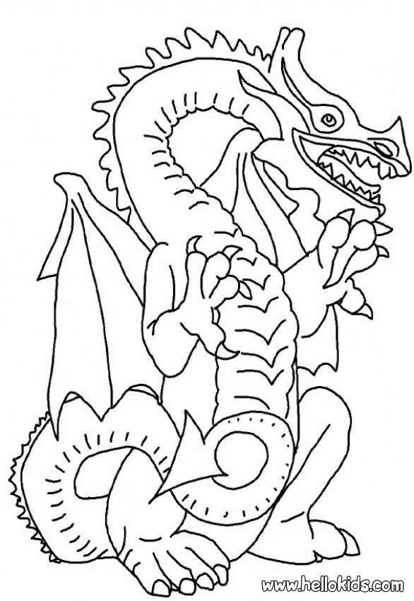 Scary dragon coloring pages - Hellokids.com