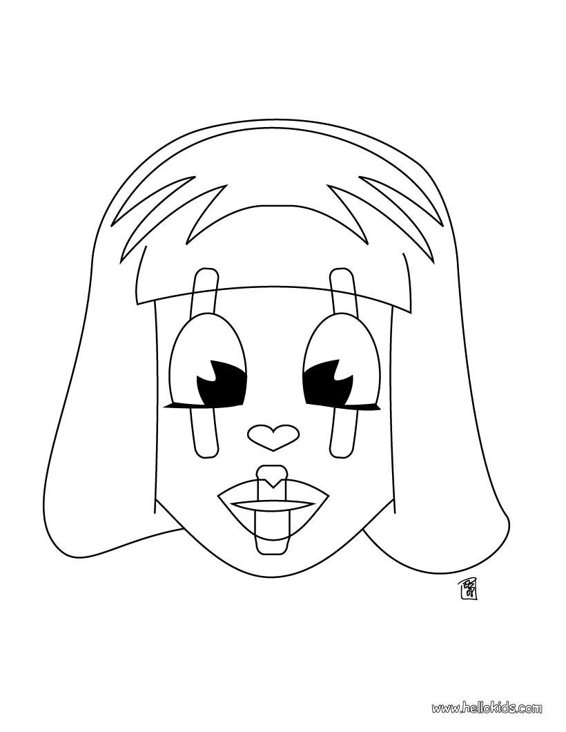 harlequin coloring pages | HARLEQUIN coloring pages - Mask head