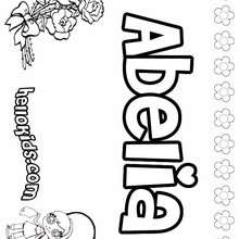 Abelia - Coloring page - NAME coloring pages - GIRLS NAME coloring pages - A names for girls coloring sheets