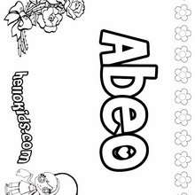 Abeo - Coloring page - NAME coloring pages - GIRLS NAME coloring pages - A names for girls coloring sheets
