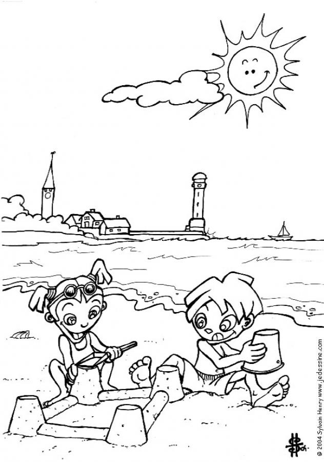SUMMER coloring pages Kids playing