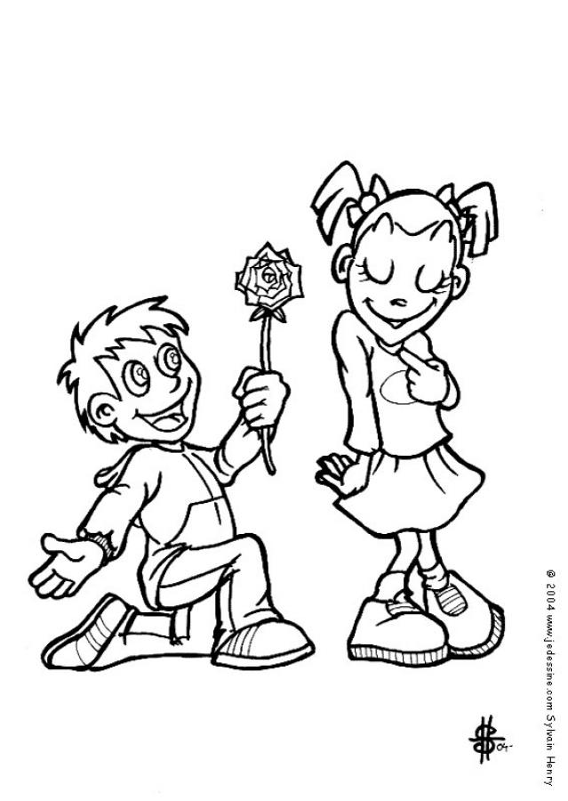 free coloring pages of flowers. boy-with-flower-coloring-page