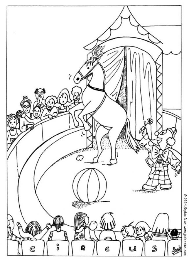 Clown And Horse Coloring Page