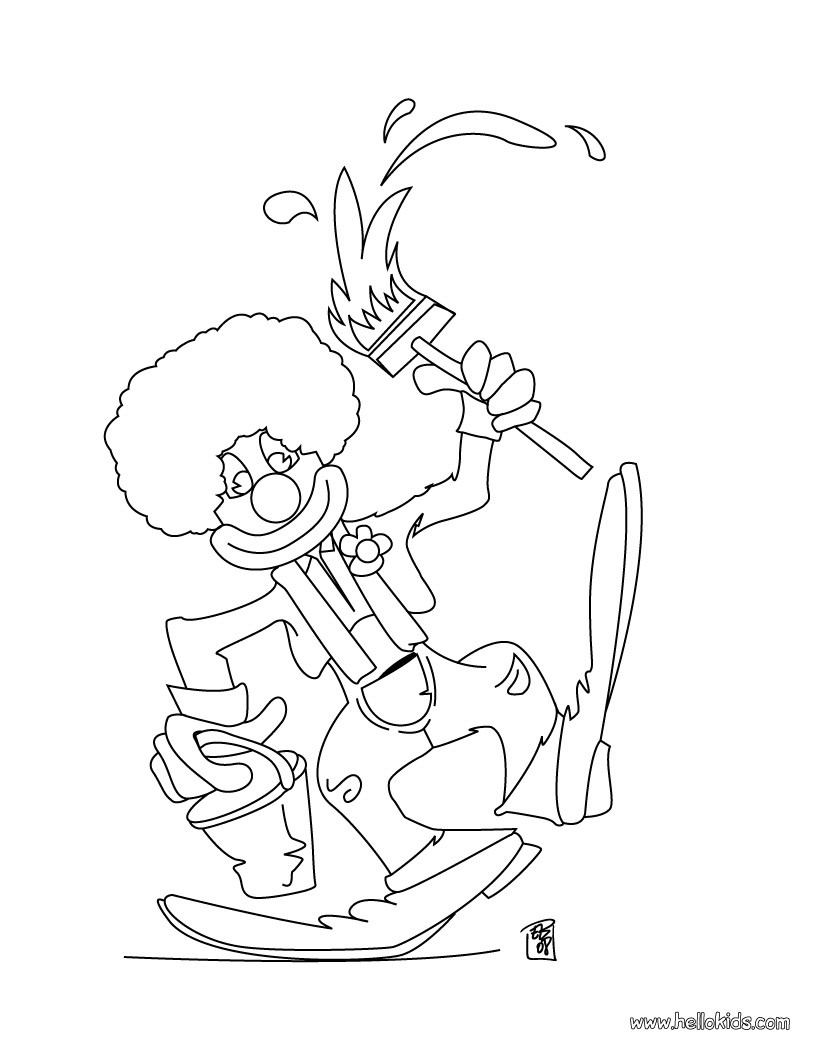 Painting clown coloring page