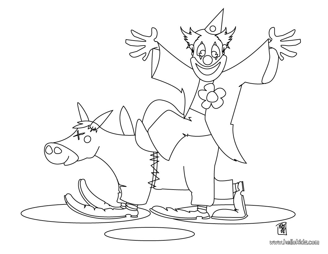 Clown and donkey coloring page
