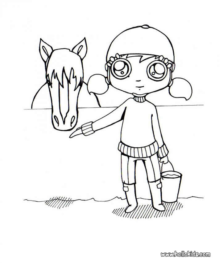girl riding horse coloring pages - photo#14