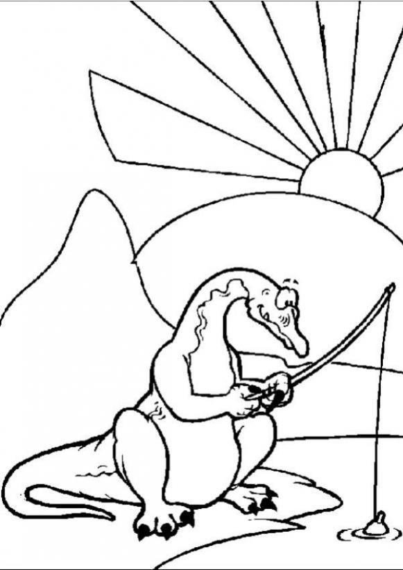 Fishing Brontosaurus Coloring Pages