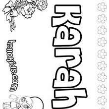 Karah - Coloring page - NAME coloring pages - GIRLS NAME coloring pages - K names for girls coloring posters