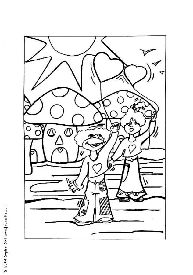 Mushroom world coloring page