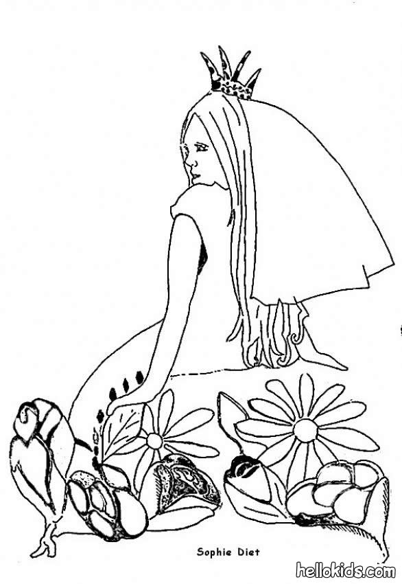 Princess with flowers coloring page