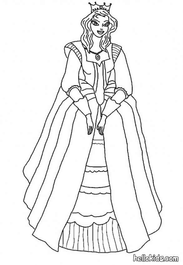 Princesses Dresses Coloring Pages Medieval Princess Princess Dresses Coloring Pages Printable