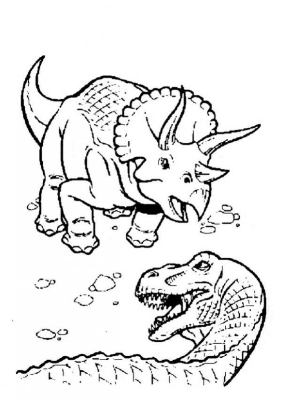 coloring pages dinosaurs online fighting | Triceratops fighting a duel with tyrannosaurus coloring ...