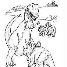 Tyrannosaurus Fighting With Triceratops Coloring Pages Hellokids Com