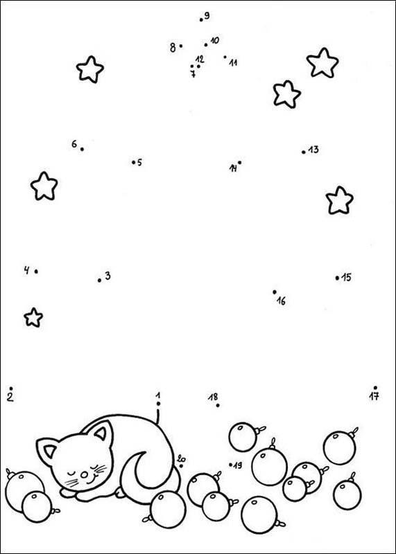 Christmas symbol printable connect the dots game
