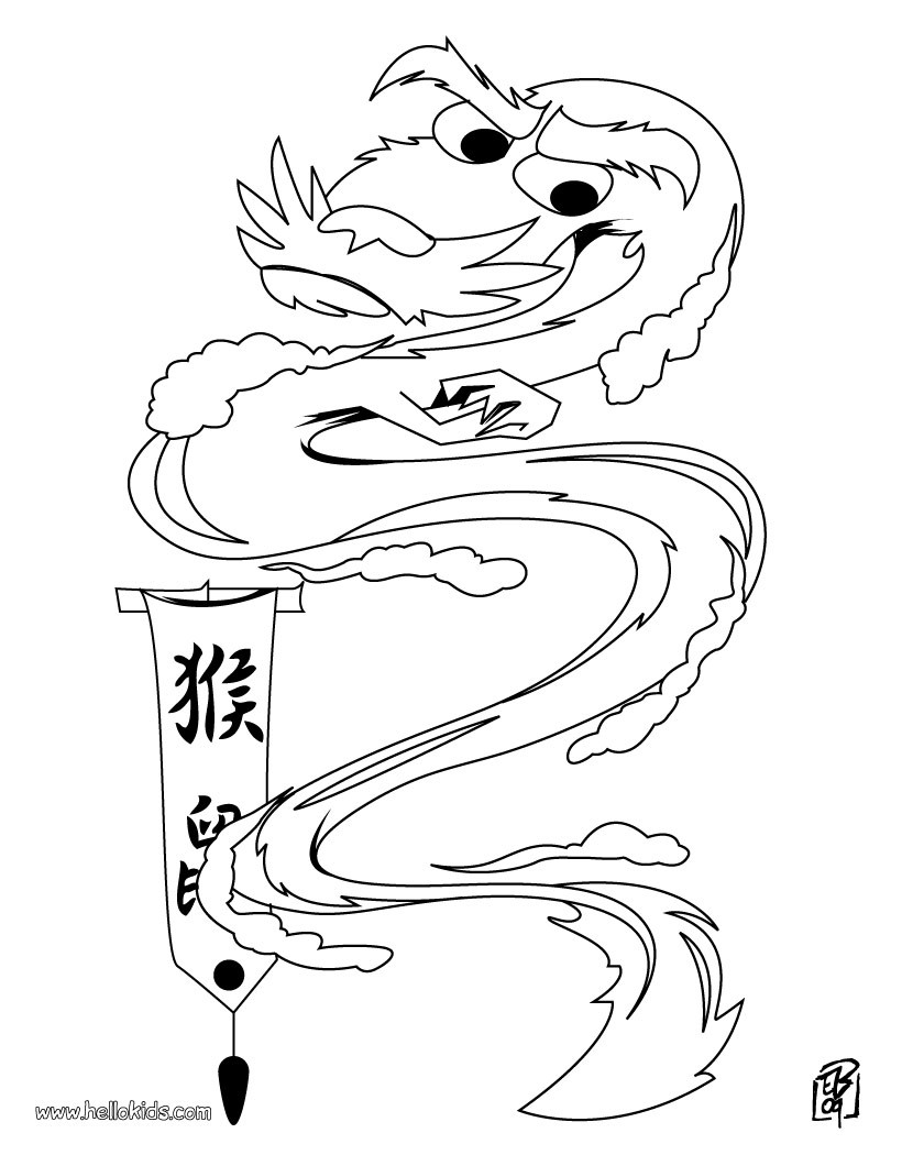Old dragon coloring page