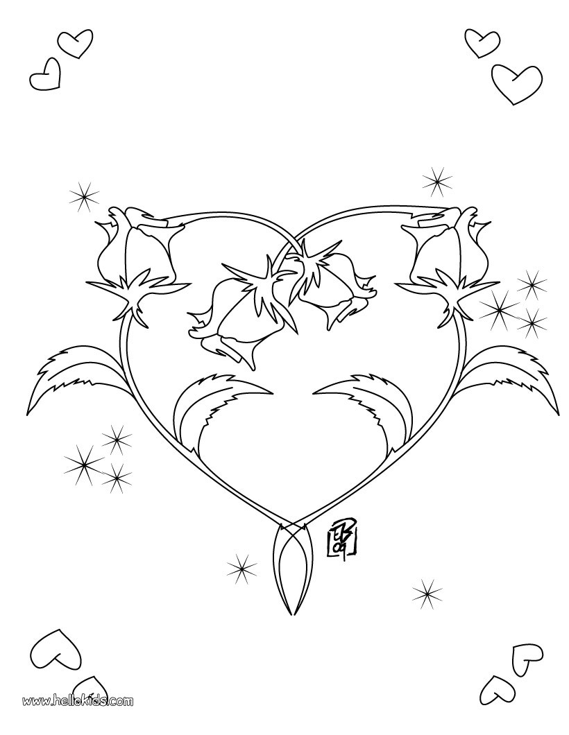 Valentine S Day Coloring Pages Roses Heart Shape Roses And Hearts Coloring Pages