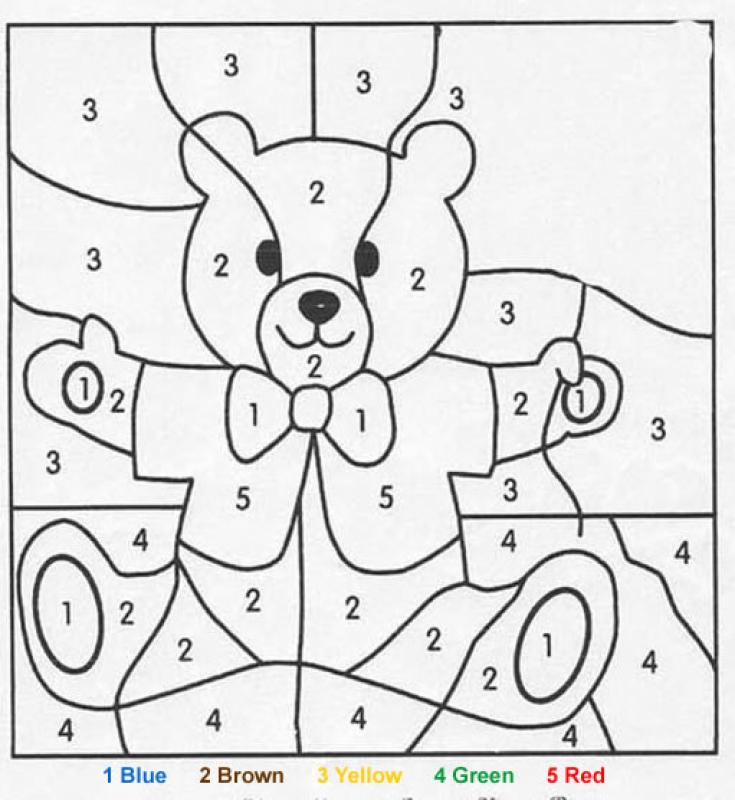 Printable Worksheets free colour by number worksheets : Teddy bear coloring pages - Hellokids.com