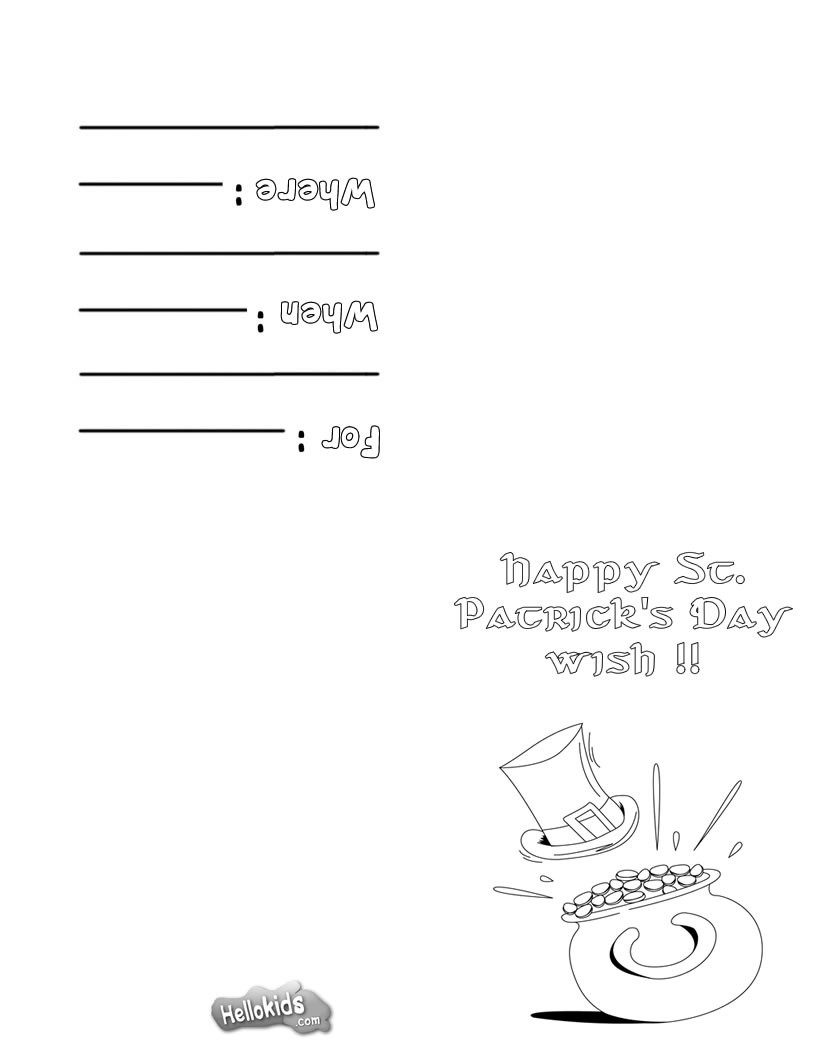 Patrick's Day Greeting card coloring page