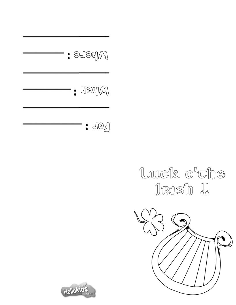 Irish harp greeting card coloring page