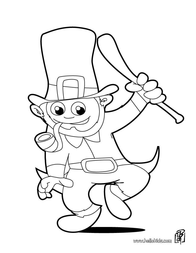 Happy Leprechaun Coloring Pages Hellokids Com