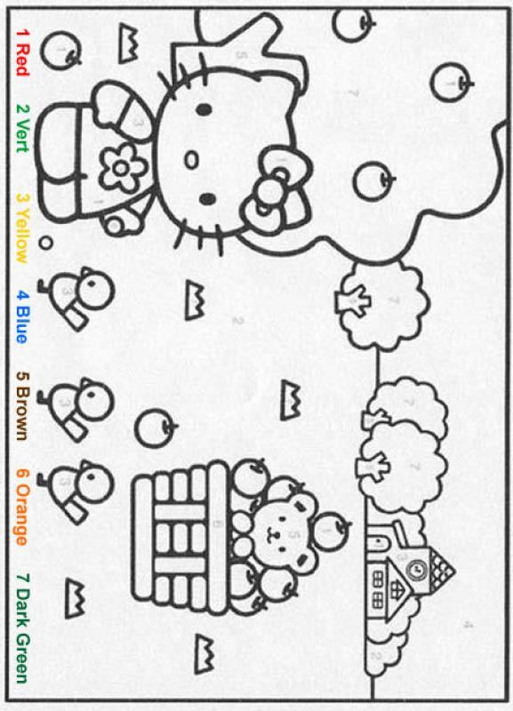 Hello Kitty Coloring Pages By Numbers : Characters color by number coloring pages hellokitty
