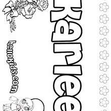 Karlee - Coloring page - NAME coloring pages - GIRLS NAME coloring pages - K names for girls coloring posters