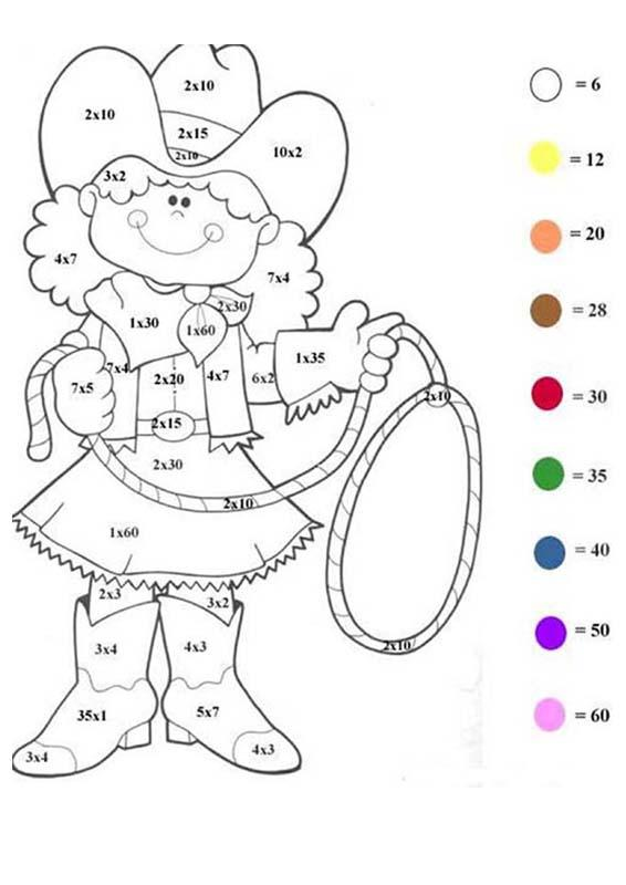 CHARACTERS Color by Number coloring pages - Western girl