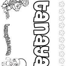 Tanaya - Coloring page - NAME coloring pages - GIRLS NAME coloring pages - T names for girls coloring and printing posters