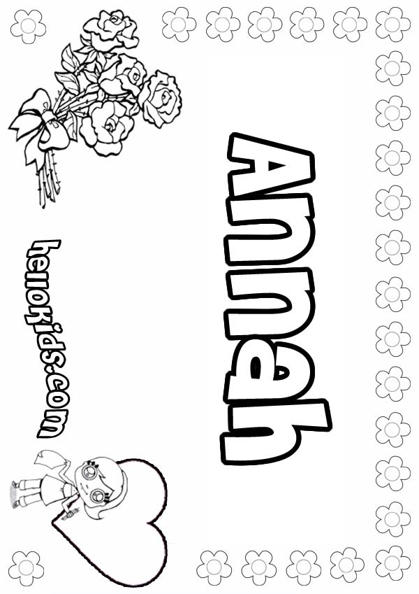 Annah - Coloring page - NAME coloring pages - GIRLS NAME coloring pages - A names