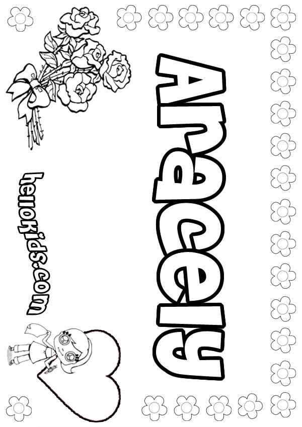 aracely coloring page name coloring pages girls name coloring pages a names - April Coloring Pages