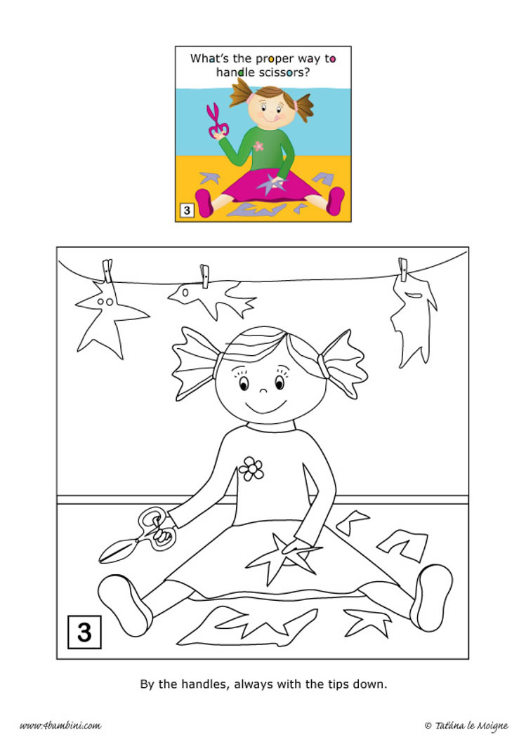 Don't play with scissors coloring page