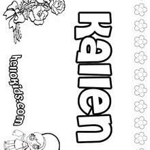 Kallen - Coloring page - NAME coloring pages - GIRLS NAME coloring pages - K names for girls coloring posters