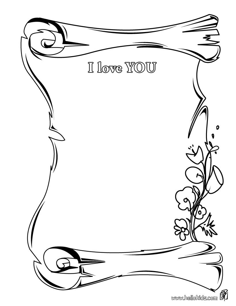 Mothers Day Certificates Coloring Pages I Love You
