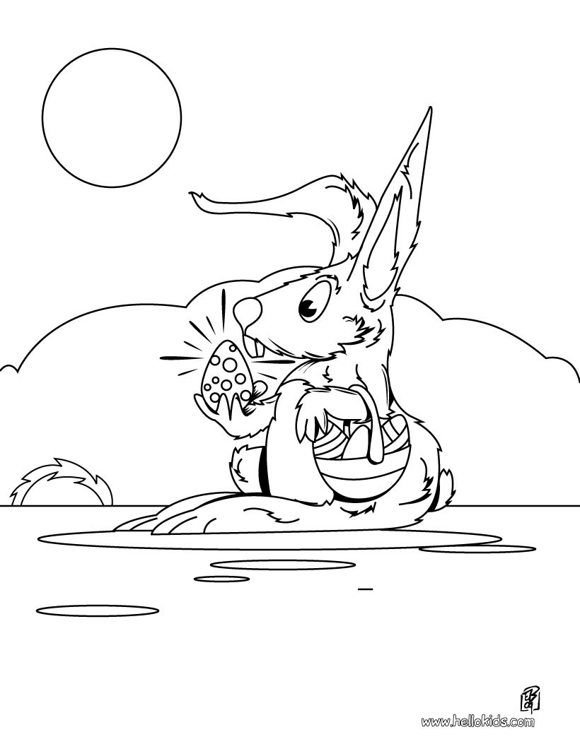 Spring Bunny with egg coloring page