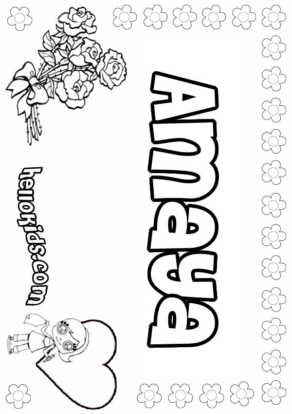 girls name coloring pages Amaya girly name to color