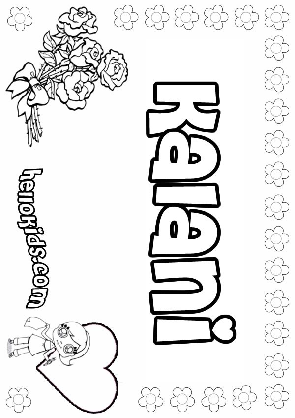 girls name coloring pages Kalani girly name to color