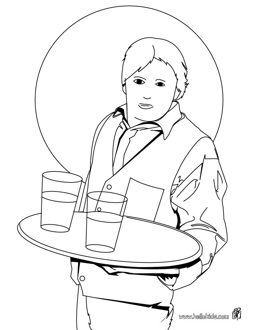 waitress coloring pages - photo#8