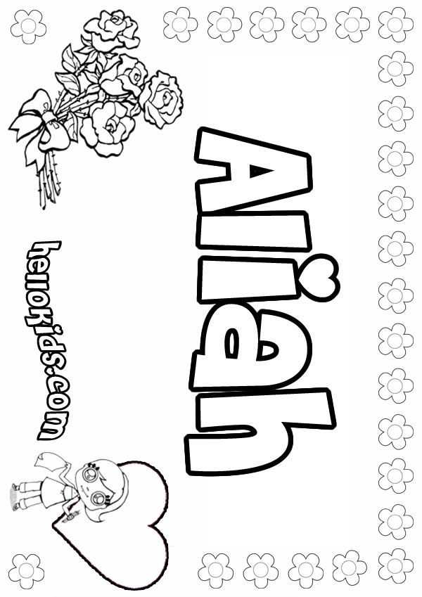 Aliah coloring page
