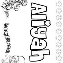 Aliyah - Coloring page - NAME coloring pages - GIRLS NAME coloring pages - A names for girls coloring sheets