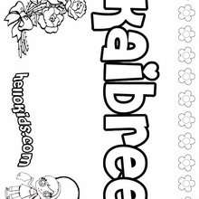 Kaibree - Coloring page - NAME coloring pages - GIRLS NAME coloring pages - K names for girls coloring posters
