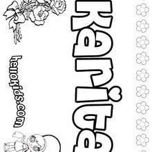 Karita - Coloring page - NAME coloring pages - GIRLS NAME coloring pages - K names for girls coloring posters