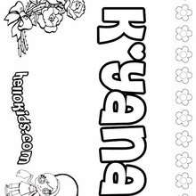 K'yana - Coloring page - NAME coloring pages - GIRLS NAME coloring pages - K names for girls coloring posters