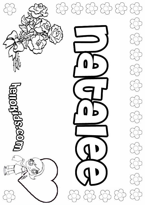 natalie name coloring pages | girls name coloring pages, Natalee girly name to color