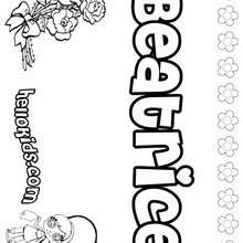 Beatrice - Coloring page - NAME coloring pages - GIRLS NAME coloring pages - B names for girls coloring sheets