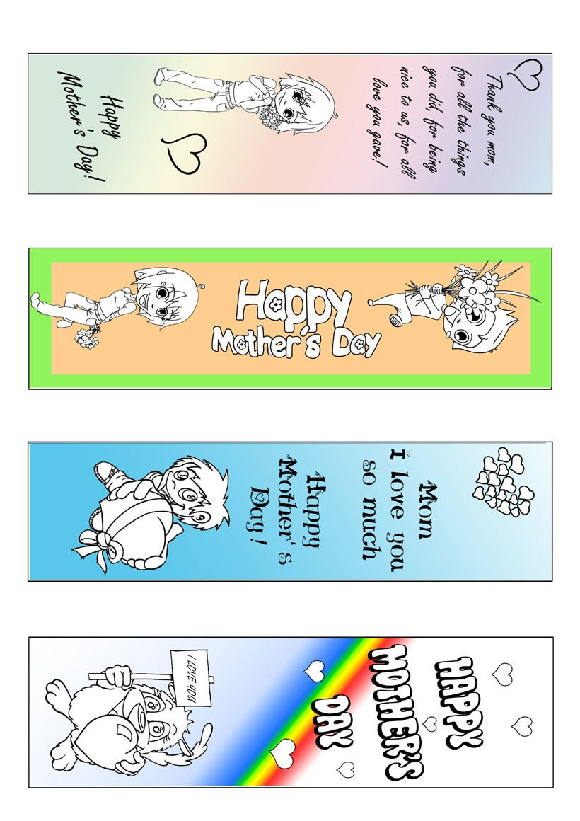 Mother's Day bookmark coloring page - Coloring - Miscellaneous coloring pages - Bookmark coloring pages - Half colored bookmark coloring pages