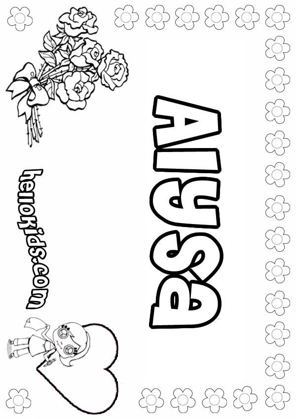 the name alyssa coloring pages | girls name coloring pages, Alysa girly name to color